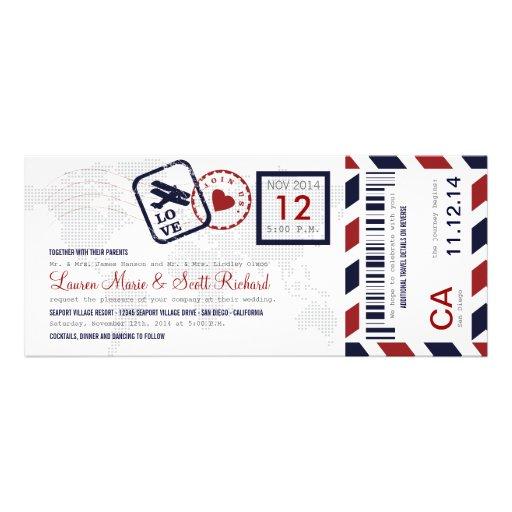 Convite do casamento do bilhete da passagem de emb