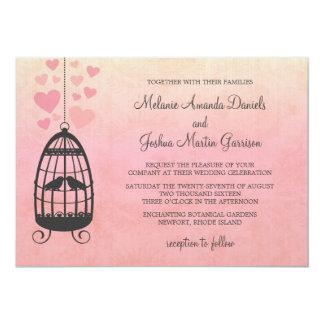 Convite do casamento do Birdcage dos Lovebirds