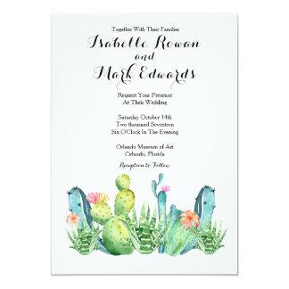 Convite do casamento do cacto da aguarela do verde