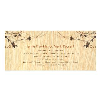 Convite do casamento do comprimento do chá do Wood