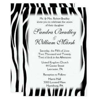 Convite do casamento do impressão da zebra