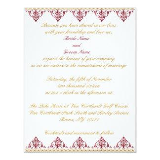Convite do casamento do ouro e da Borgonha