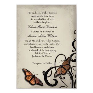 Convite do casamento do redemoinho da borboleta do