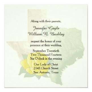 Convite do casamento do rosa amarelo de Texas