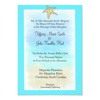 Convite do casamento do Seashell da estrela do mar