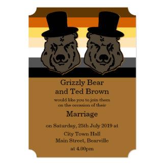 Convite do casamento do urso para homem gay convite 12.7 x 17.78cm