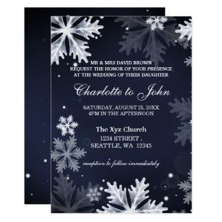 Convite do casamento no inverno dos flocos de neve