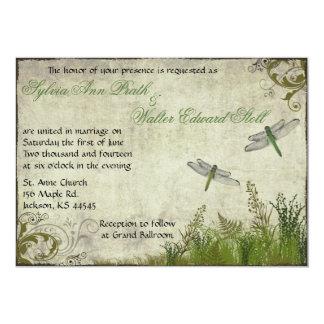 Convite do casamento vintage do jardim da libélula