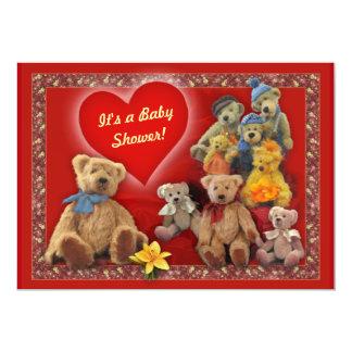 Convite do chá de fraldas com ursos de ursinho