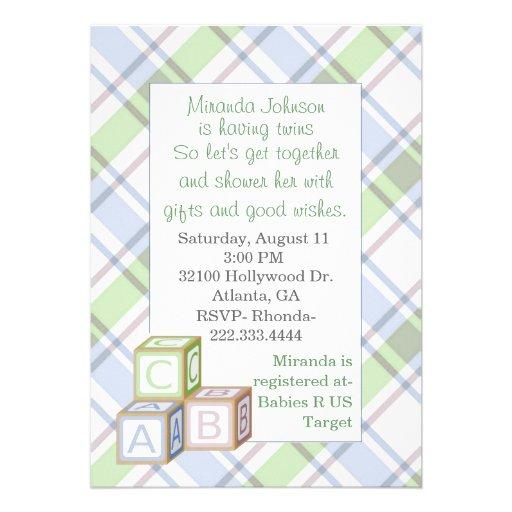 Convite do chá de fraldas da xadrez
