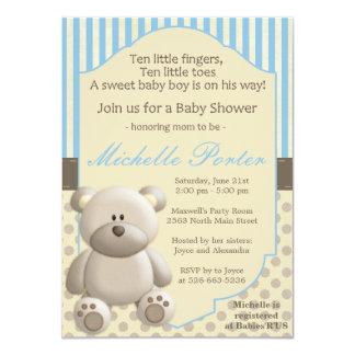 Convite do chá de fraldas do urso de ursinho para