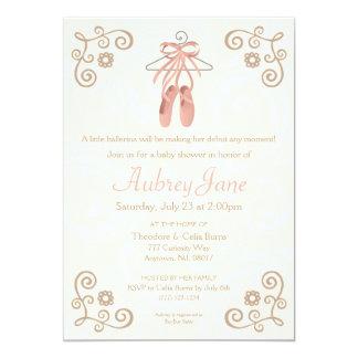 Convite do chá do bebé do balé dos calçados da convite 12.7 x 17.78cm