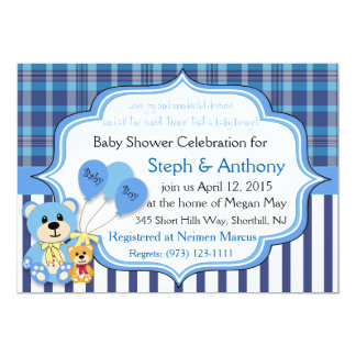 Convite do chá do urso do bebé convite 12.7 x 17.78cm