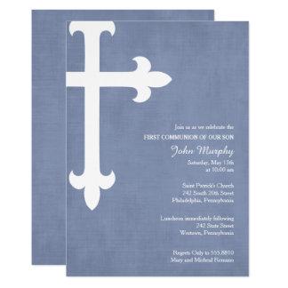 Convite do comunhão da grande cruz primeiro, azul