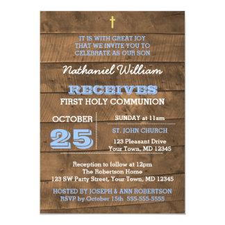 Convite do comunhão do azul de Barnwood primeiro