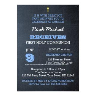 Convite do comunhão do azul do quadro primeiro