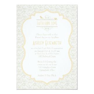 Convite do comunhão do laço branco de Champagne