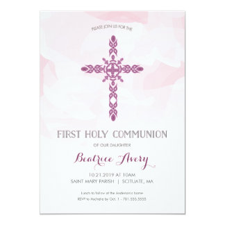 Convite do comunhão santamente da menina primeiro,