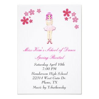 Convite do considerando da dança do balé convite 12.7 x 17.78cm