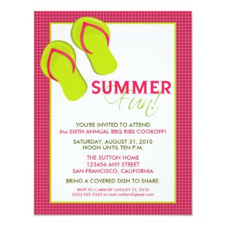 Convite do divertimento Picnic/BBQ do verão (pink)