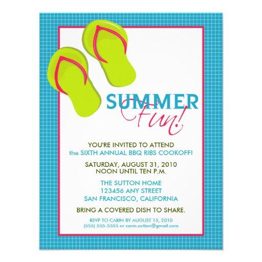 Convite do divertimento Picnic/BBQ do verão (rosa/