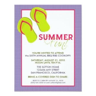 Convite do divertimento Picnic/BBQ do verão (roxo)