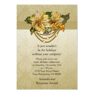 Convite do feriado das poinsétias do ouro do