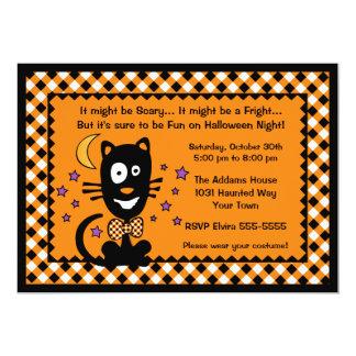 Convite do gatinho do Dia das Bruxas engraçado