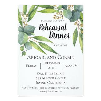 Convite do jantar de ensaio da folha do eucalipto
