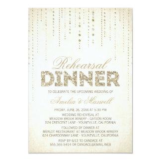 Convite do jantar de ensaio do olhar do brilho do