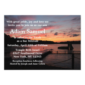 Convite do lago camp do por do sol