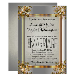 Convite do ouro elegante do vintage e do casamento