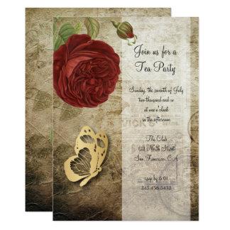 Convite do partido | da rosa vermelha do jardim do