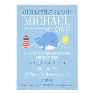 Convite do primeiro aniversario da baleia