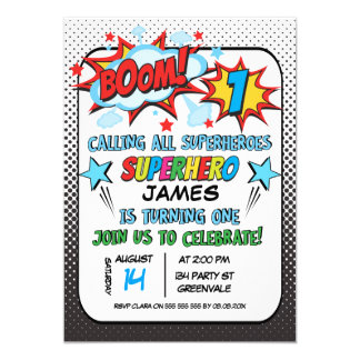 Convite do primeiro aniversario do super-herói dos