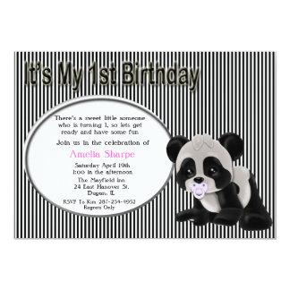 Convite do primeiro aniversario do urso de panda convite 12.7 x 17.78cm