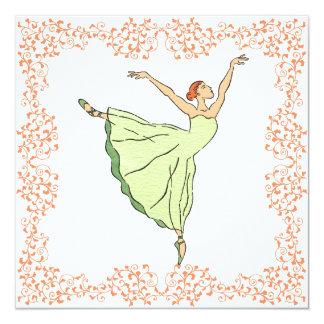 Convite do quadrado do aniversário da bailarina