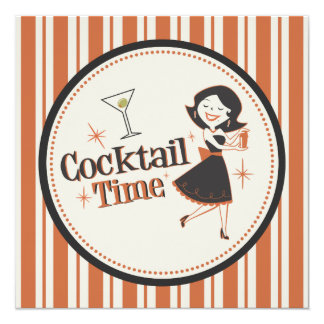 Convite do tempo do cocktail - listras