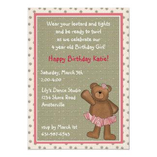 Convite do urso da bailarina