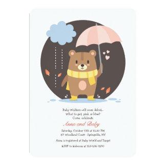 Convite do urso de ursinho do chá de fraldas