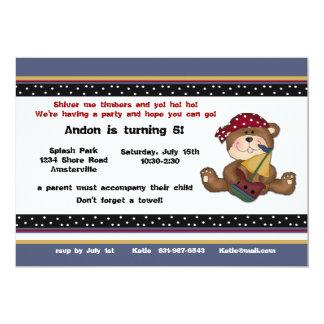 Convite do urso do pirata