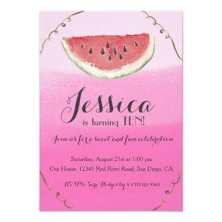 Convite doce do aniversário da melancia para