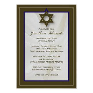 Convite elegante de Mitzvah do bar do tecido em