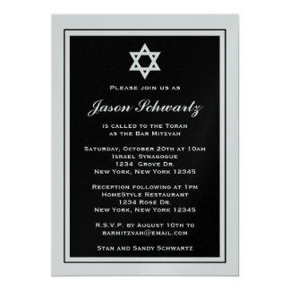 Convite elegante de Mitzvah do bar - personalizado