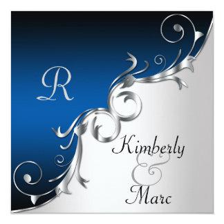 Convite elegante do casamento azul e de prata