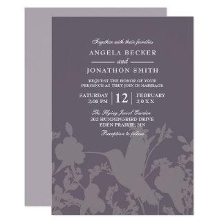 Convite elegante do casamento da ameixa do jardim