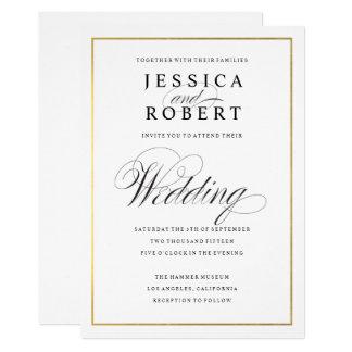 Convite elegante do casamento da beira do ouro do