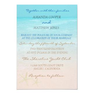Convite elegante do casamento de praia