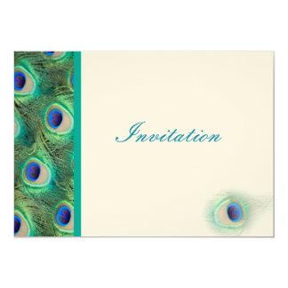 convite elegante do casamento do azul de pavão convite 12.7 x 17.78cm