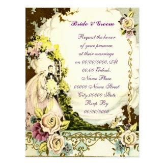 convite elegante do casamento do orçamento, cartao postal